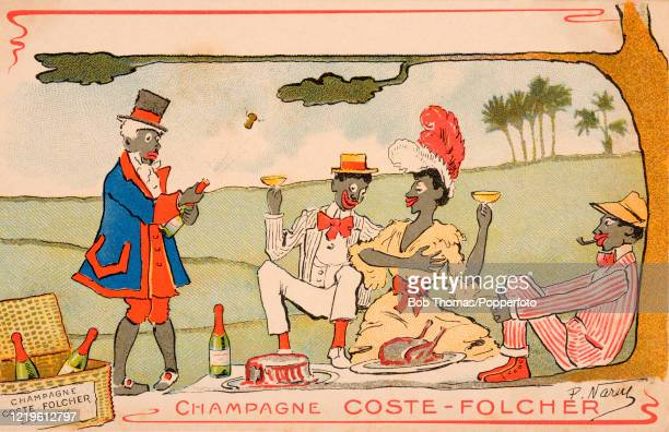 Vintage French postcard advertising Champagne Coste-Folcher and featuring racist caricatures of four black people having a picnic including bottles...
