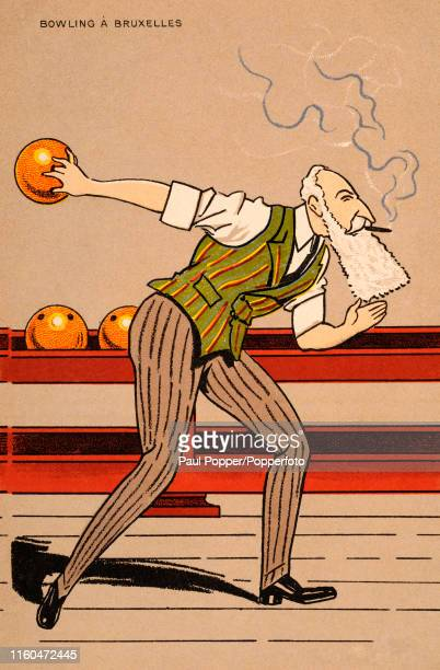 Vintage French postcard featuring a caricature of King Leopold II of Belgium in action at a bowling alley, published in Paris, circa 1905.