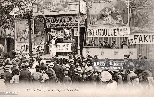 A vintage French postcard featuring Madame La Goulue also known as Louise Weber and The Queen of Montmarte who was a celebrated dancer at the Moulin...