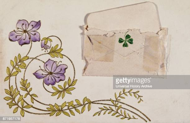 Vintage French postcard illustrated with mauve flowers and a four leaf clover roses 1900