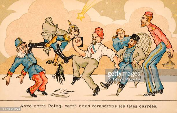 Vintage French propaganda postcard illustration featuring the Allies of France, England, Russia and Belgium battling with caricatures of...