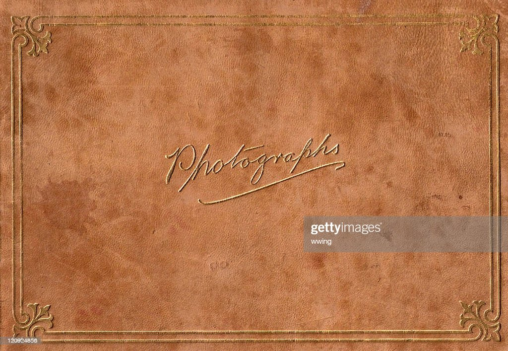 Vintage Full Size Leeather Embossed in Gold Photograph Album : Stock Photo