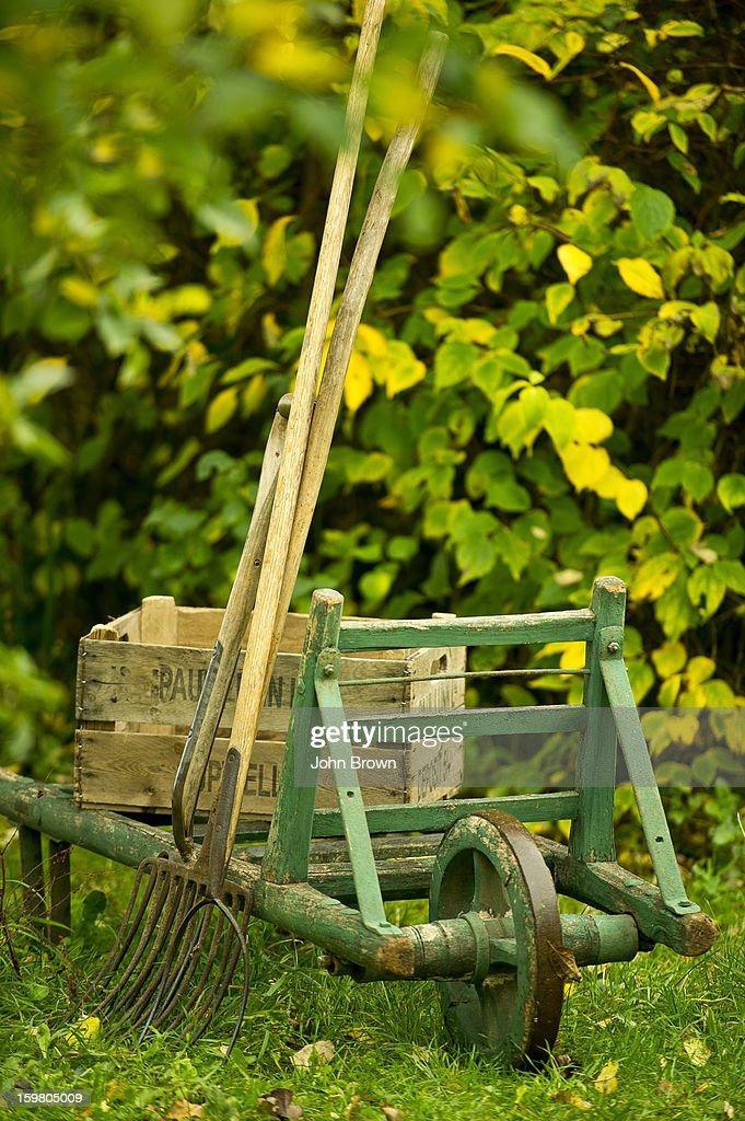 Vintage Garden Equipment In English Garden : Stock Photo