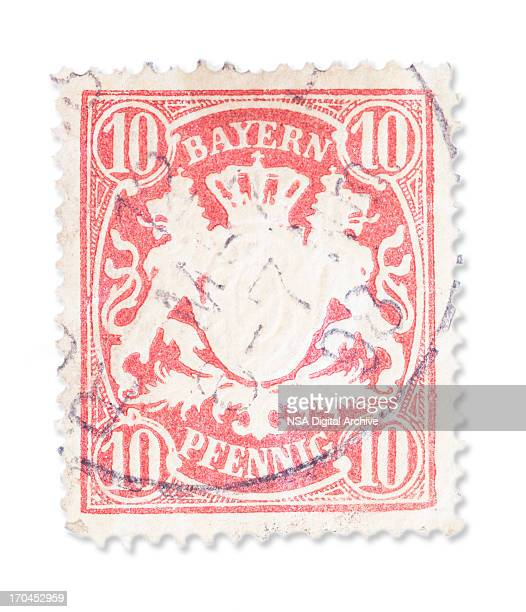 vintage german stamp -  bavarian coat of arms - coat of arms stock pictures, royalty-free photos & images
