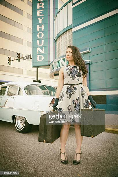 vintage girl with suitcases - 1955 stock pictures, royalty-free photos & images
