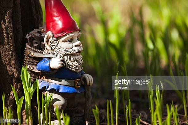 vintage gnome garden statuette. - leprechaun stock pictures, royalty-free photos & images