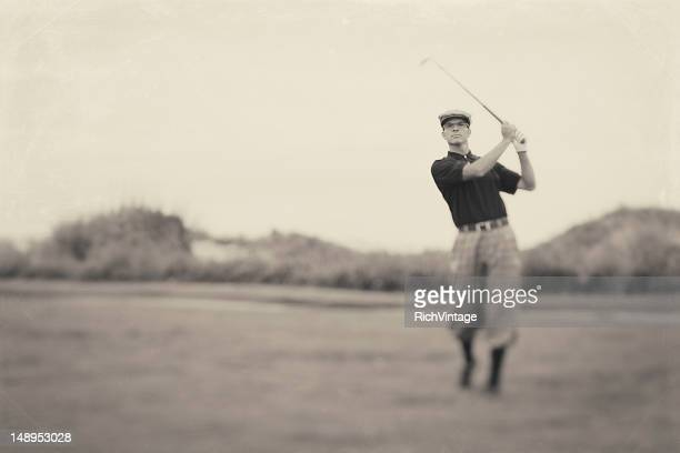 vintage golf - golfer stock pictures, royalty-free photos & images