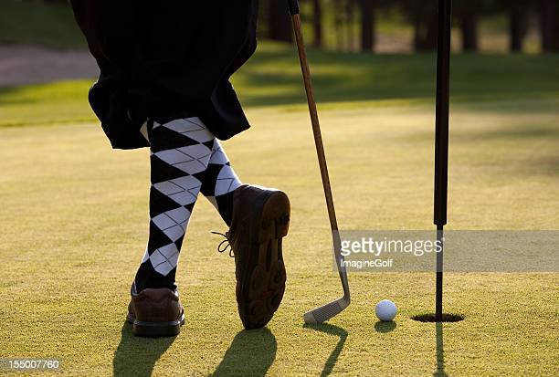 vintage golfer with plus fours closeup on legs - plus fours stock photos and pictures