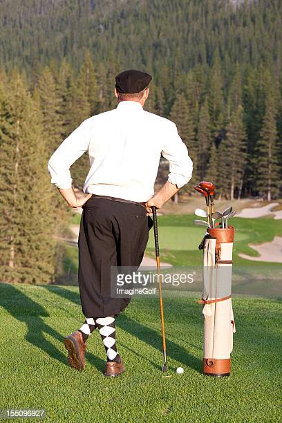 vintage golfer with plus fours - banff springs golf course stock photos and pictures