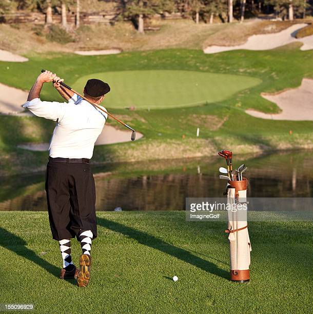 vintage golfer with plus fours - plus fours stock photos and pictures