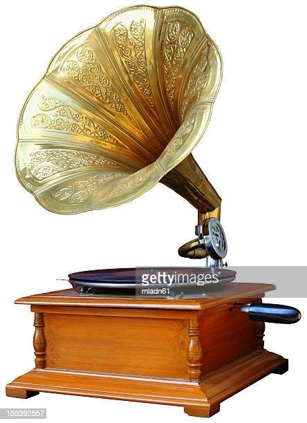 vintage gramophone - gramophone stock pictures, royalty-free photos & images