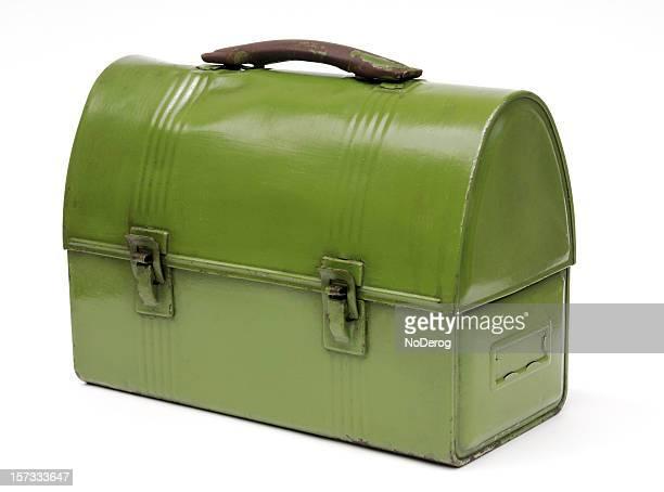 Vintage green metal workman's lunch box