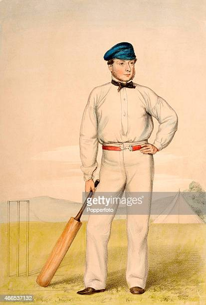 A vintage handcoloured lithograph featuring the Surrey and England cricketer William Caffyn after an original watercolour by John Corbet Anderson...