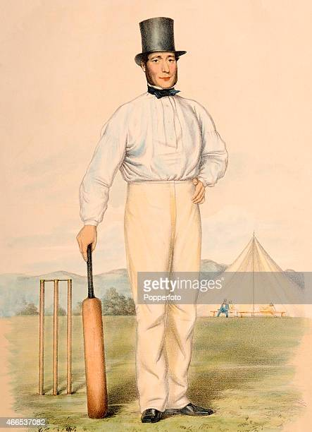 A vintage handcoloured lithograph of Nottinghamshire and AllEngland cricketer Joseph Guy after an original waterecolour by John Corbet Anderson...