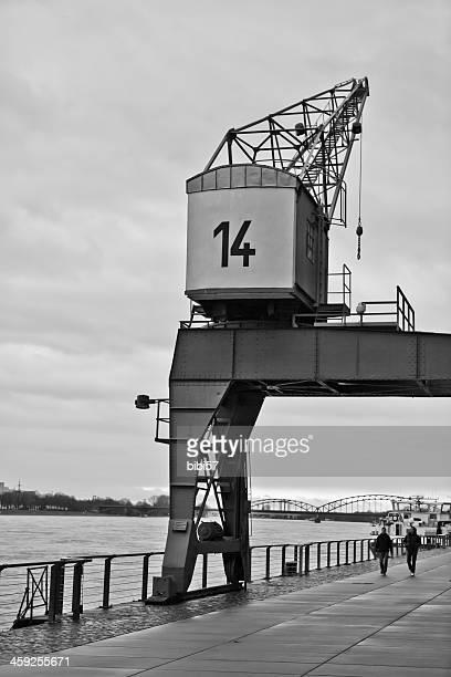 vintage harbour crane in Cologne