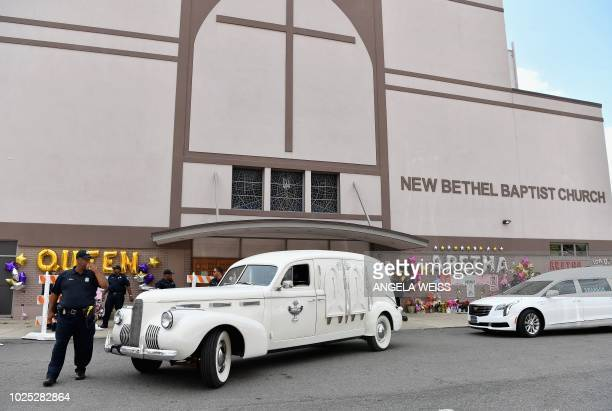 A vintage hearse carrying the remains of Aretha Franklin arrives for the viewing of her body at the New Bethel Baptist Church on August 30 2018 in...