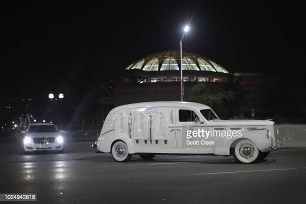A vintage hearse carrying the remains of Aretha Franklin leaves the Charles H Wright Museum of AfricanAmerican History following a daylong public...