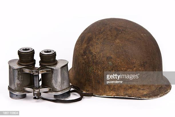 Vintage Helmet and Binoculars