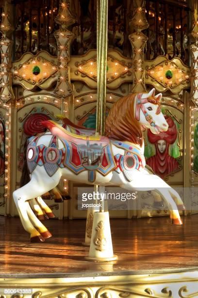 vintage horse carousel or merry go round - pony play bildbanksfoton och bilder