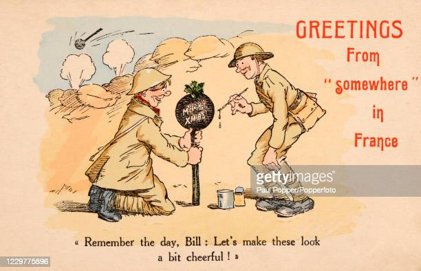 Vintage humorous Christmas card featuring an illustration of two British soldiers decorating a bomb for Christmas before sending it to the Germans...