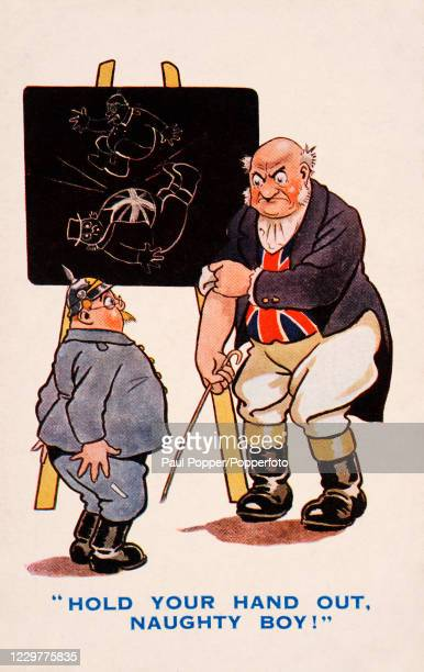 Vintage humorous patriotic postcard illustration, by English artist Dudley Buxton, featuring schoolmaster John Bull representing Great Britain about...