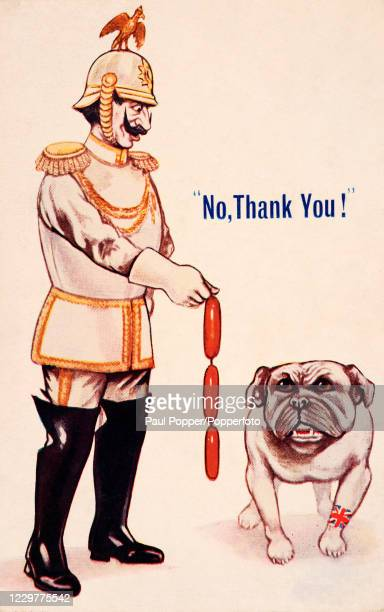Vintage humorous patriotic postcard illustration featuring a British bulldog declining a Kaiser Wilhelm II's offer of German sausages, published in...