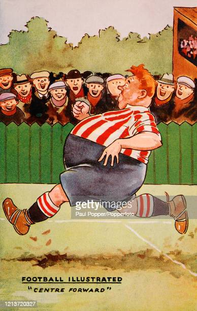"""Vintage humorous postcard illustration featuring an obese """"centre forward"""" footballer running on the pitch to the delight of fans, published in..."""