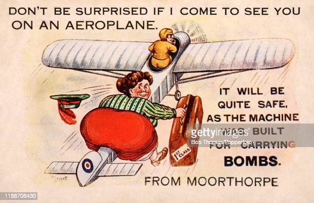 A vintage humourous postcard illustration featuring a buxom woman carrying a suitcase a passenger on a vintage monoplane which was built for carrying...
