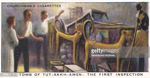 Vintage illustrated collectible tobacco card from the Treasure Trove series published in 1937 by Churchman's Cigarettes, depicting the 1922 discovery...