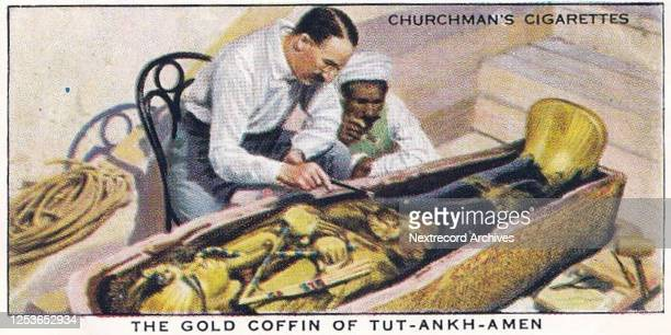 Vintage illustrated collectible tobacco card from the Treasure Trove series published in 1937 by Churchman's Cigarettes, depicting the discovery and...