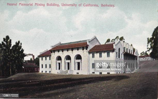 Vintage illustrated linen postcard published ca 1921 depicting the Hearst Memorial Mining Building designed by Julia Morgan, on the University of...