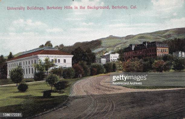 Vintage illustrated linen postcard published ca 1921 depicting the University of California, Berkeley, campus, in the East Bay Area, California .
