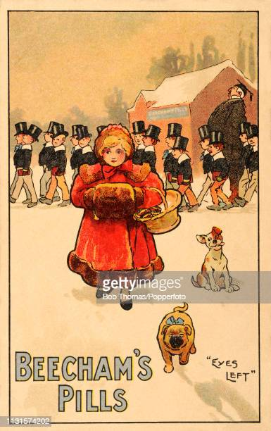 A vintage illustration advertising Beecham's Pills and featuring public schoolboys with 'eyes left' ogling a pretty young girl wearing a coat and...