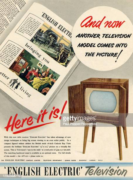 Vintage illustration advertising English Electric Television, featuring a floor model, the technology and family enjoyment, published in The...