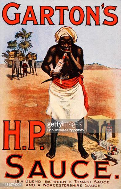A vintage illustration advertising Garton's HP Sauce and featuring a native Sudanese man pleased that a box of Sauce fell off a passing camel train...