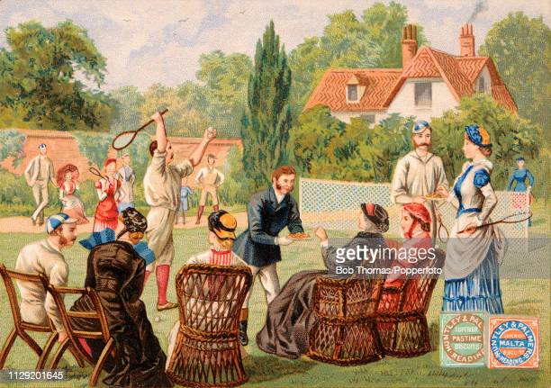 A vintage illustration advertising Huntley and Palmers biscuits and featuring a lawn tennis match watched by stylishly dressed people enjoying tea in...