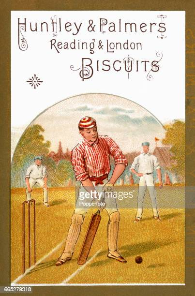 A vintage illustration advertising Huntley Palmers biscuits featuring a batsman during a village cricket match circa 1900