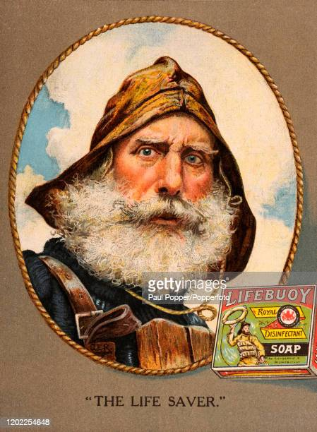 """Vintage illustration advertising Lifebuoy soap and featuring a bearded """"Life Saver"""" wearing a sou'wester hat, published by Lever Brothers in Port..."""