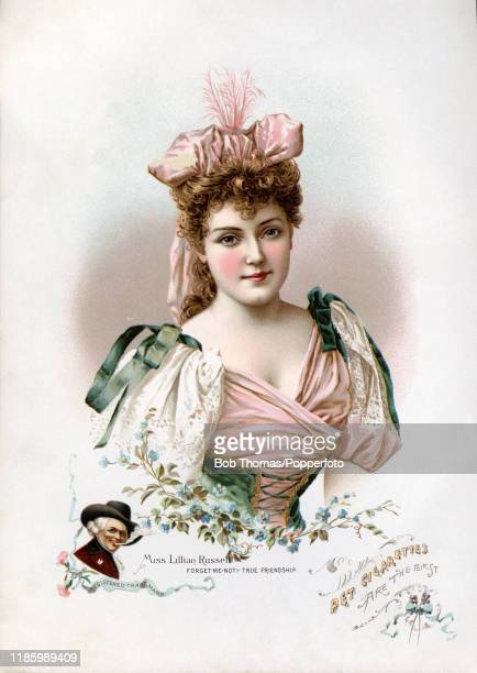A vintage illustration advertising Richmond Straight Cut No 1 cigarettes and featuring Lillian Russell the American stage actress and singer with...