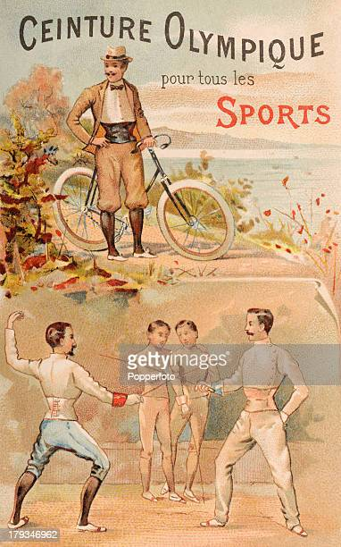 Vintage illustration advertising sports corsets and supports and featuring a cyclist and fencers, published during the Olympic Games in Paris, 1900.
