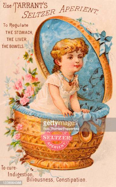 A vintage illustration advertising Tarrant's Seltzer Aperient to regulate the stomach liver and bowels and featuring a little girl in a woven basket...