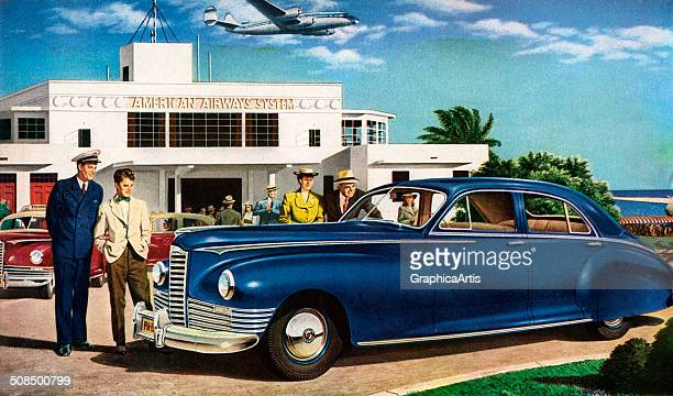 Vintage illustration by Melbourne Brindle of airline passengers admiring a Packard car outside a terminal 1946 Screen print