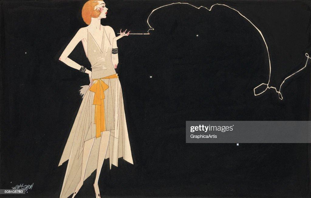 Woman Smoking Cigarette : Nachrichtenfoto
