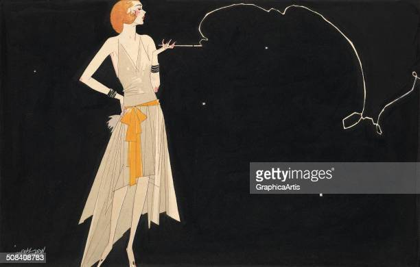 Vintage illustration by Russell Patterson of a flapper smoking a cigarette at night 1920s 'Where There's Smoke There's Fire' Ink and watercolor on...