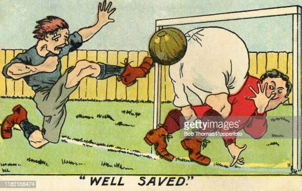 A vintage illustration featuring a bigbottomed goalkeeper thumbing his nose as he denies his opponent's goal circa 1910