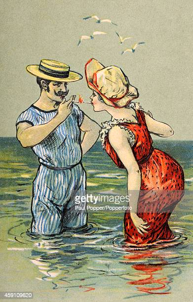 A vintage illustration featuring a couple in fashionable bathing costumes at the seaside lighting cigarettes circa 1900