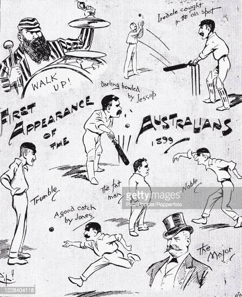 Vintage illustration featuring a cricket cartoon which depicts the Australian Cricket Team's appearance at Crystal Palace for the match against...