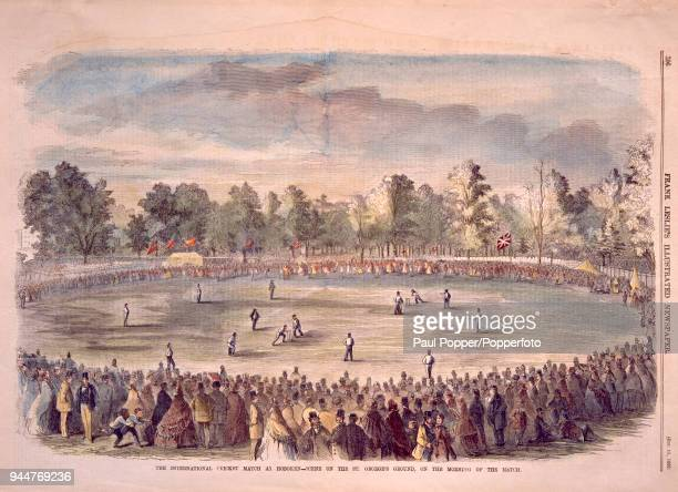 A vintage illustration featuring a general view from an AllEngland Eleven's tour of North America International Exhibition match against a United...