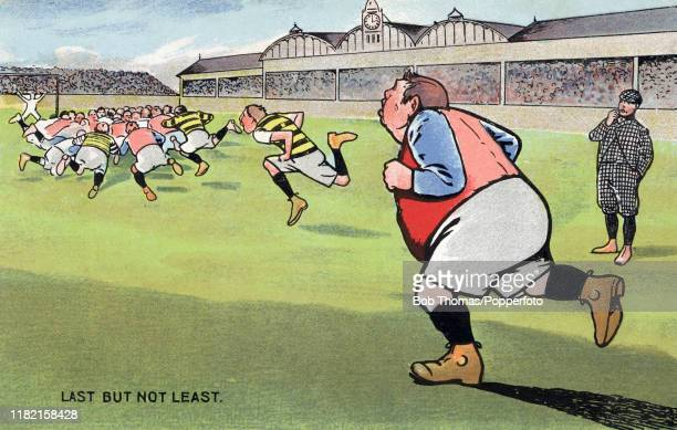 A vintage illustration featuring a hefty football player bringing up the rear Last But Not Least during a match overseen by a referee and packed...