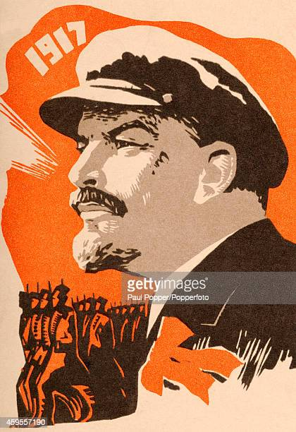 A vintage illustration featuring a portrait of Vladimir Lenin and Russian troops circa 1917